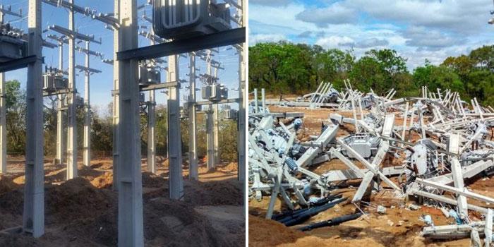 Destacao - Antes e depois - invasão fazenda em correntina - estação elétrica
