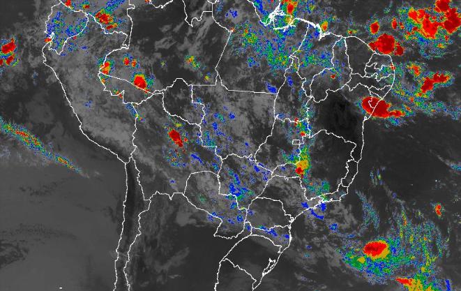 Imagem de satélite de todo o Brasil nesta quinta-feira (14) - Fonte: Inmet