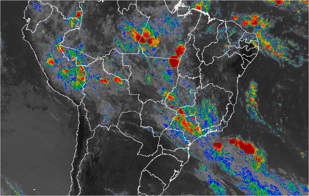 Imagem de satélite de todo o Brasil nesta quinta-feira (28) - Fonte: Inmet