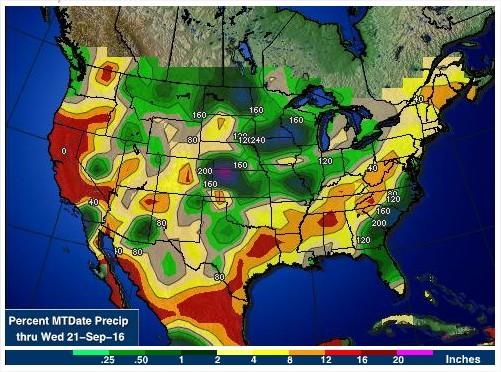 Acumulado de chuvas nos EUA em setembro - Fonte: AGWeb
