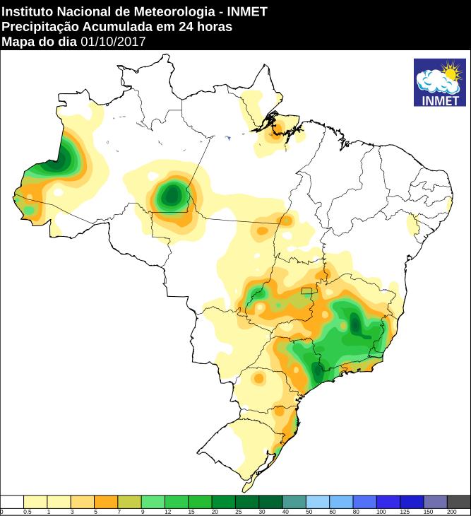 Mapa de precipitação acumulada no Brasil 01/10 - Fonte: Inmet