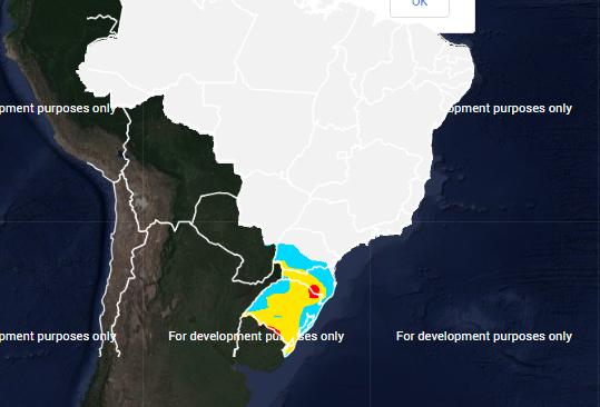 Mapa com a previsão de geada para quarta-feira (26) - Fonte: Inmet