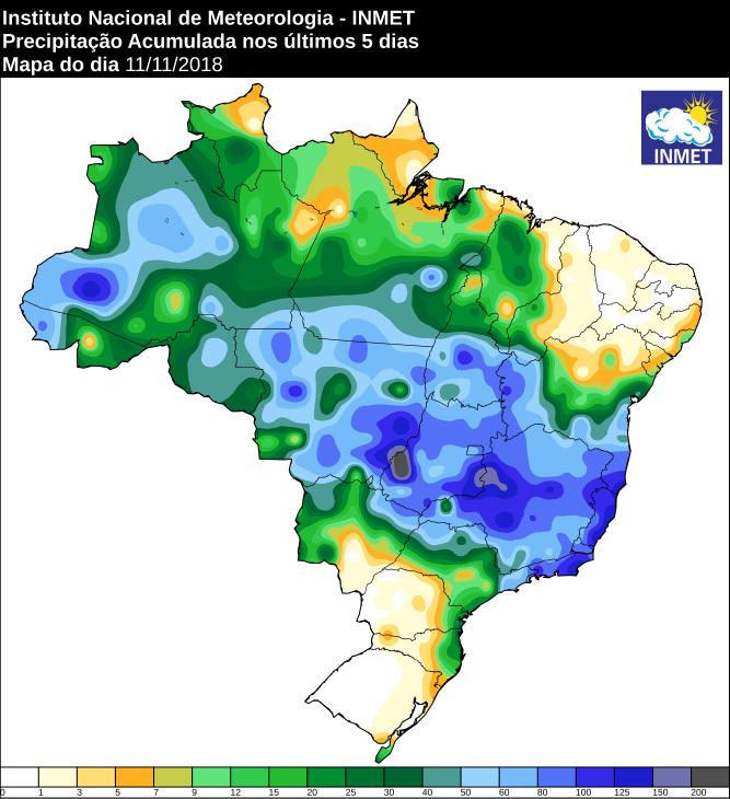 Mapa de precipitação acumulada nos últimos cinco dias em todo o Brasil - Fonte: Inmet