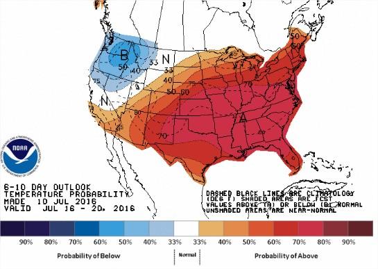 Temperaturas EUA 6 a 10 dias - Fonte: NOAA