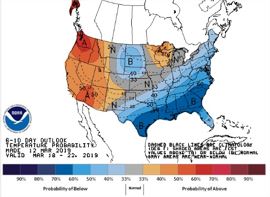 NOAA 6 a 10 dias - EUA