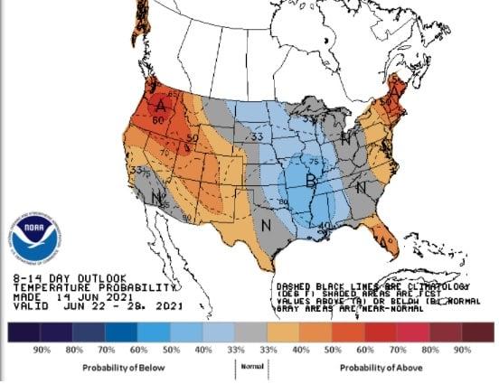 Clima nos EUA de 22 a 28 de junho - Fonte: NOAA