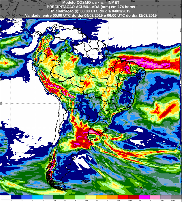 Mapa com a precipitação acumulada nos próximos 7 dias no Brasil - Fonte: Inmet
