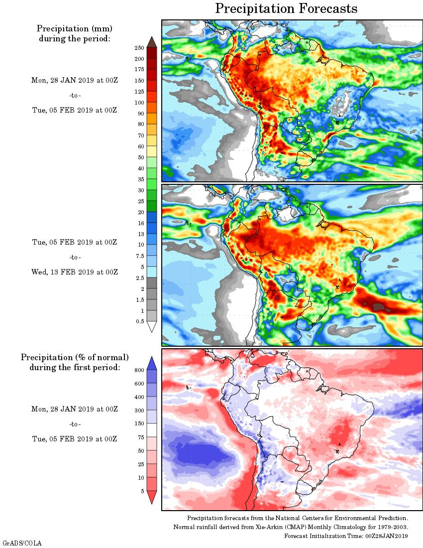 Mapa com a tendência de precipitação acumulada para o período de 28 de janeiro até 13 de fevereiro - Fonte: National Centers for Environmental Prediction/NOAA