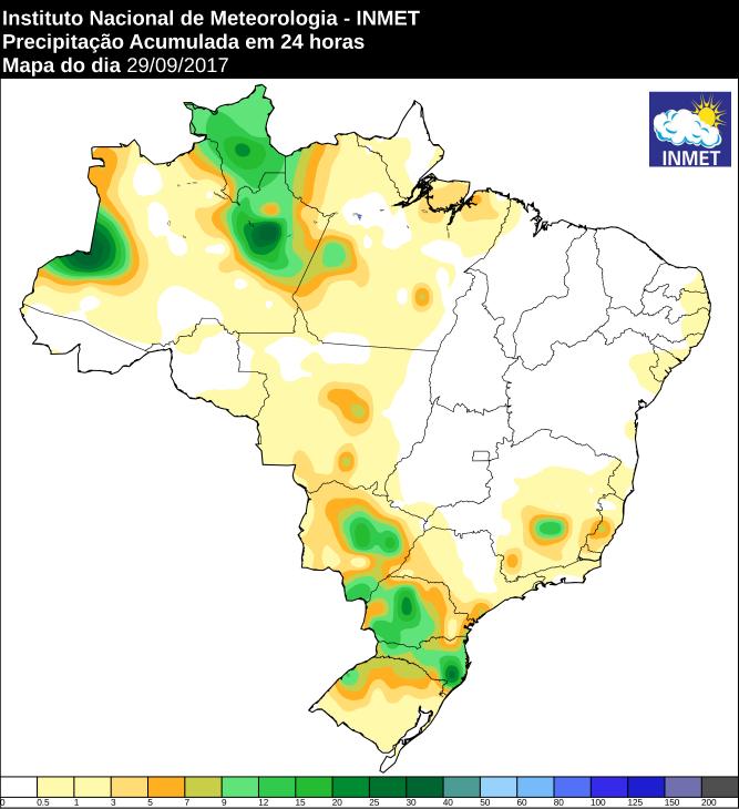 Mapa de precipitação acumulada no Brasil 29/09 - Fonte: Inmet