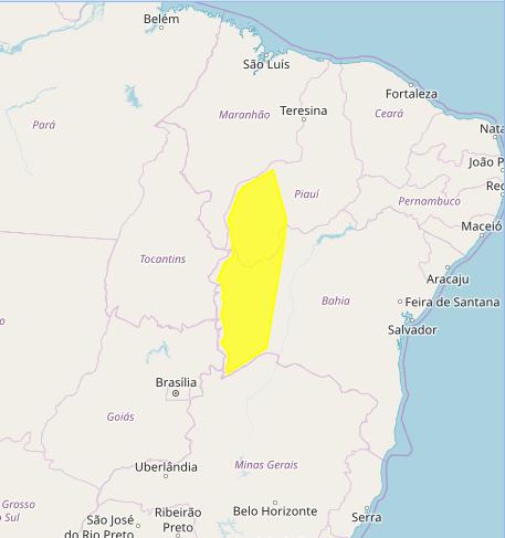 Mapa das áreas com alerta de acumulados de chuva nesta 6ª - Fonte: Inmet