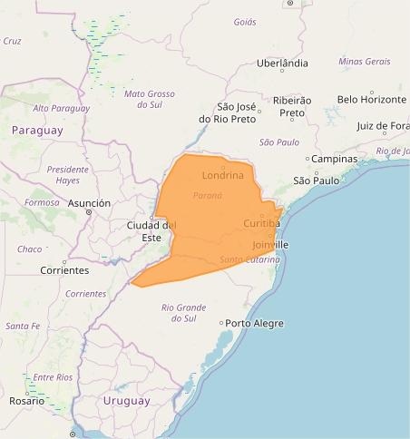 Mapa das áreas com alerta de tempestade nesta 3ª feira - Fonte: Inmet