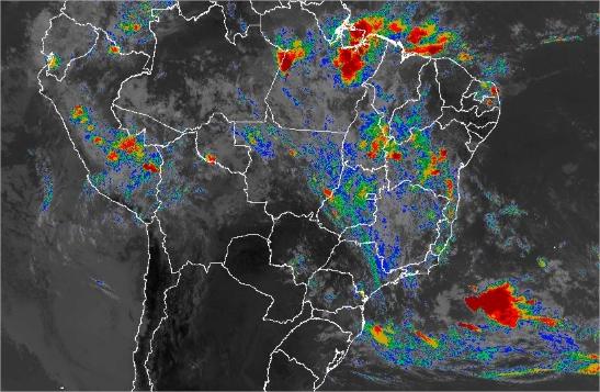Imagem de satélite de todo o Brasil nesta segunda-feira (18) - Fonte: Inmet