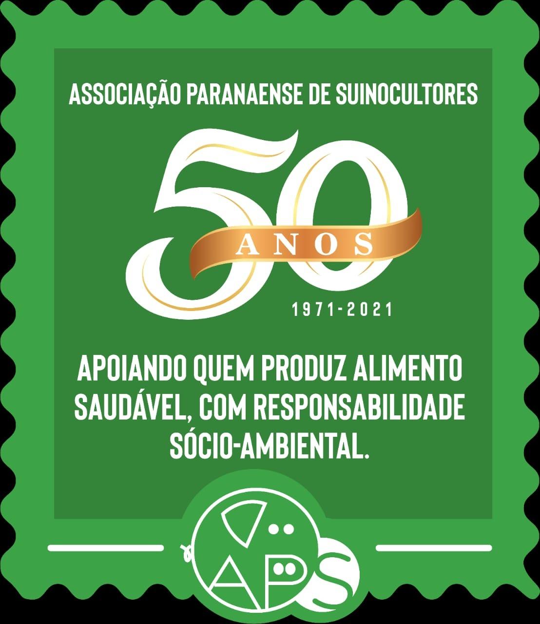 selo comemorativo 50 anos aps associação paranaense de suinocultores