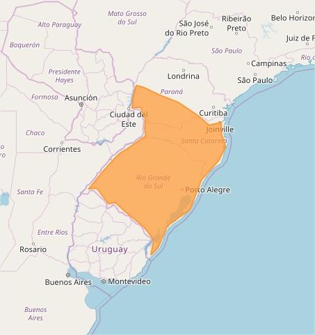 Mapa das áreas com previsão de tempestades nesta 6ª feira - Fonte: Inmet