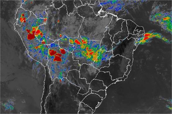 Imagem de satélite de todo o Brasil nesta segunda-feira (28) - Fonte: Inmet