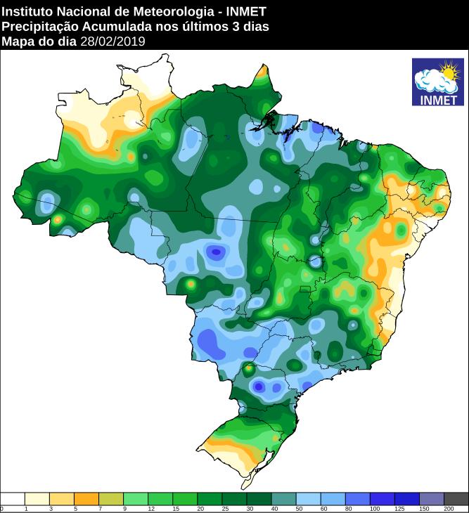Mapa das áreas com precipitação acumulada nos últimos 3 dias - Fonte: Inmet