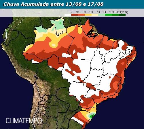 Chuva acumulada entre 13 e 17 agosto