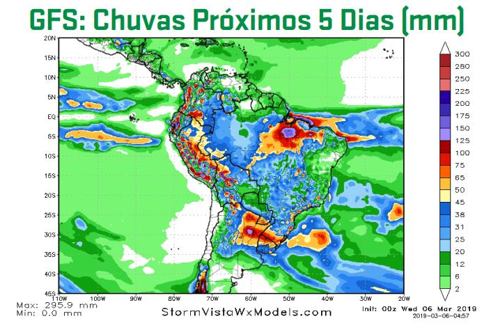 Mapa com previsão de chuva nos próximos 5 dias em todo o Brasil - Fonte: ARC Mercosul (AgResource)