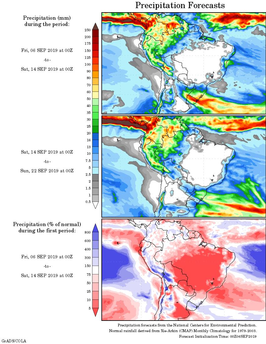 Mapa com a tendência de precipitação acumulada para o período de 06 até 22 de setembro: Fonte: National Centers for Environmental Prediction/NOAA