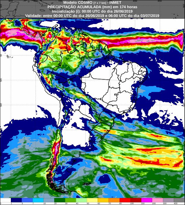 Mapa das áreas com a previsão de precipitação acumulada para os próximos 7 dias - Fonte: Inmet
