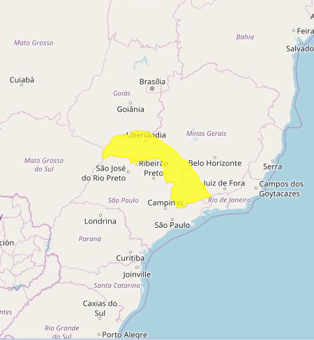 Mapa das áreas com previsão de chuvas intensas nesta 5ª e 6ª feira - MG - Fonte: Inmet