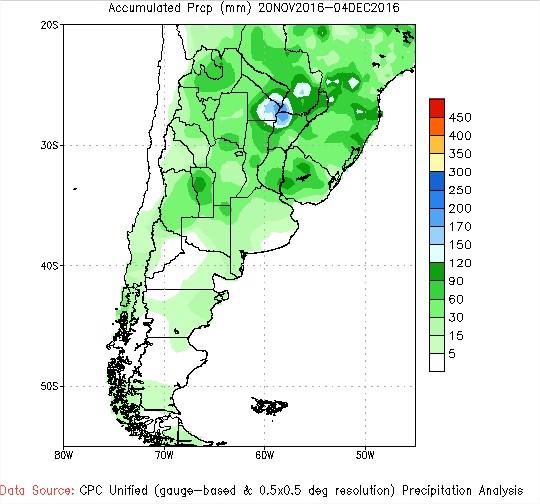 Previsão de Chuvas - Argentina - 15 Dias - Fonte: NOAA