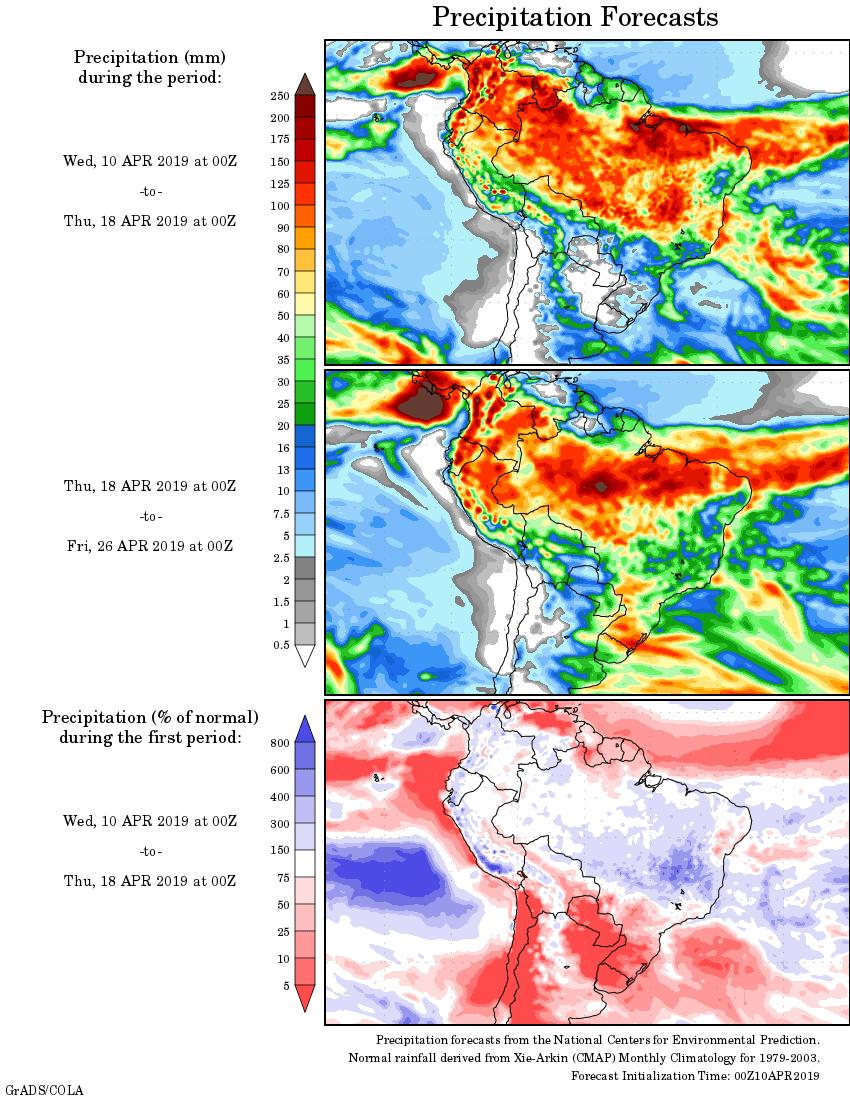 Mapa com a tendência de precipitação acumulada para o período de 10 de abril até 26 de abril - Fonte: National Centers for Environmental Prediction/NOAA