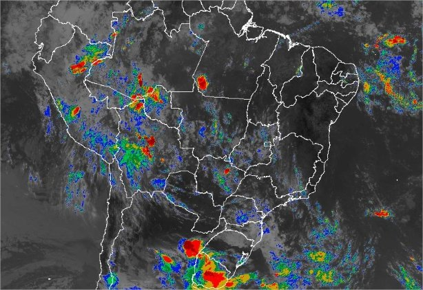 Imagem de satélite de todo o Brasil nesta segunda-feira (11) - Fonte: Inmet
