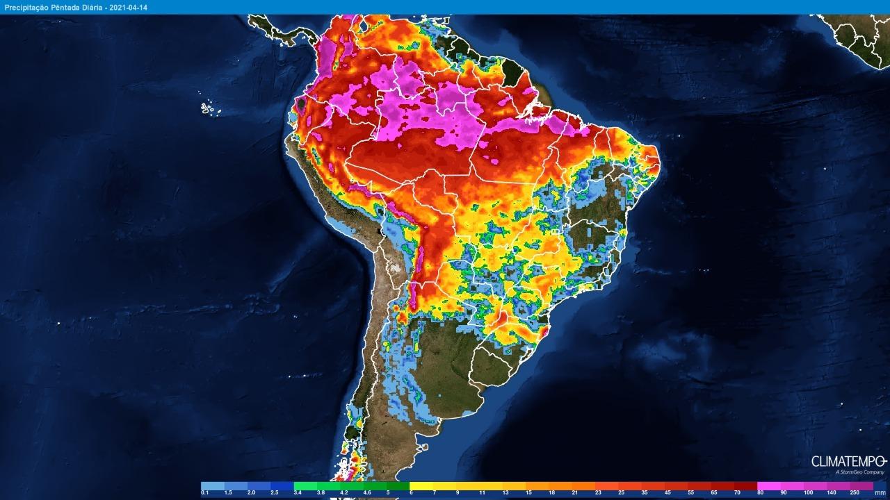 Mapa com a previsão de chuva acumulada para os próximos 5 dias em todo o Brasil - Fonte: Climatempo