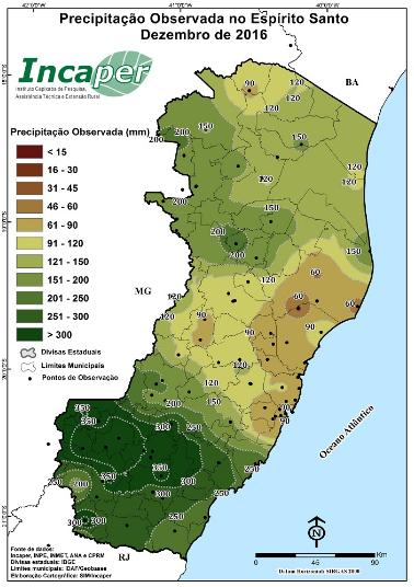 Precipitação observada no ES em dezembro - Fonte: Incaper