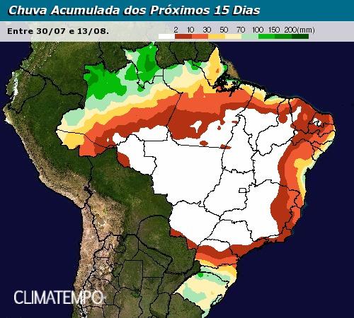 Chuva acumualda nos próximos 15 dias