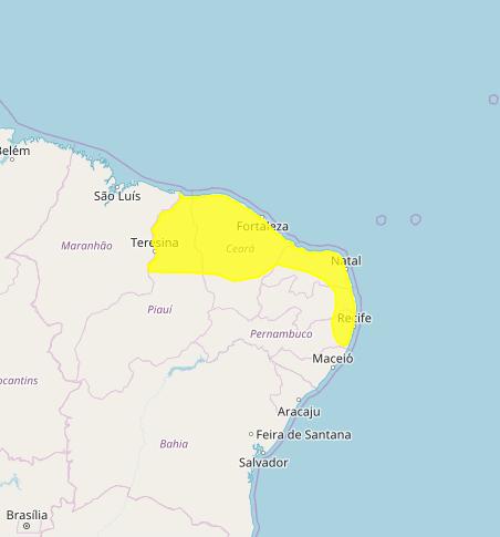 Mapa das áreas com previsão de altos acumulados nesta 5ª feira - Fonte: Inmet