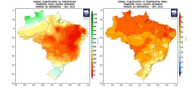 Climatologia de precipitação e  temperatura média do ar para o trimestre julho, agosto e setembro. Período de referência: 1981 – 2010 - Fonte: Inmet