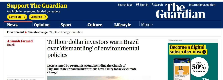 Ameaça aos investimentos do BR - The Guardian