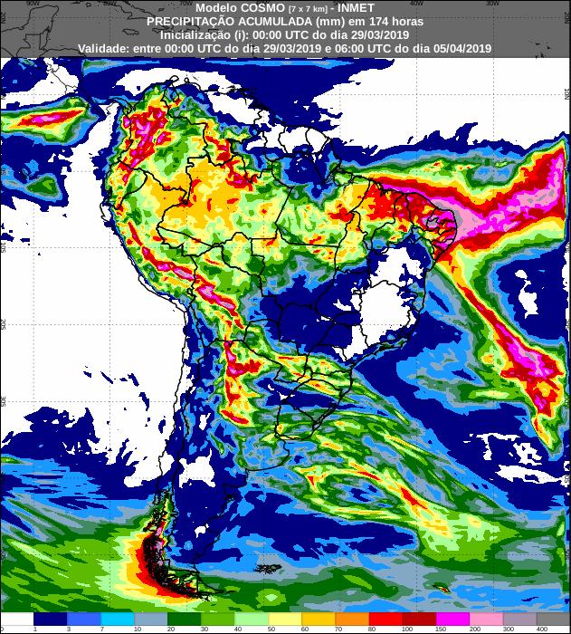 Mapa de precipitação acumulada dos próximos 7 dias no Brasil - Fonte: Inmet