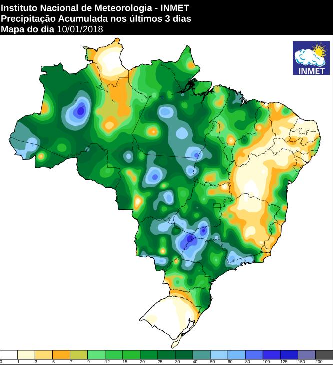 Mapa de precipitação acumulado dos últimos três dias em todo o Brasil - Fonte: Inmet