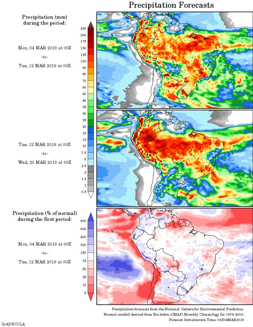 Mapa com a tendência de precipitação acumulada para o período de 04 de março até 20 de março - Fonte: National Centers for Environmental Prediction/NOAA