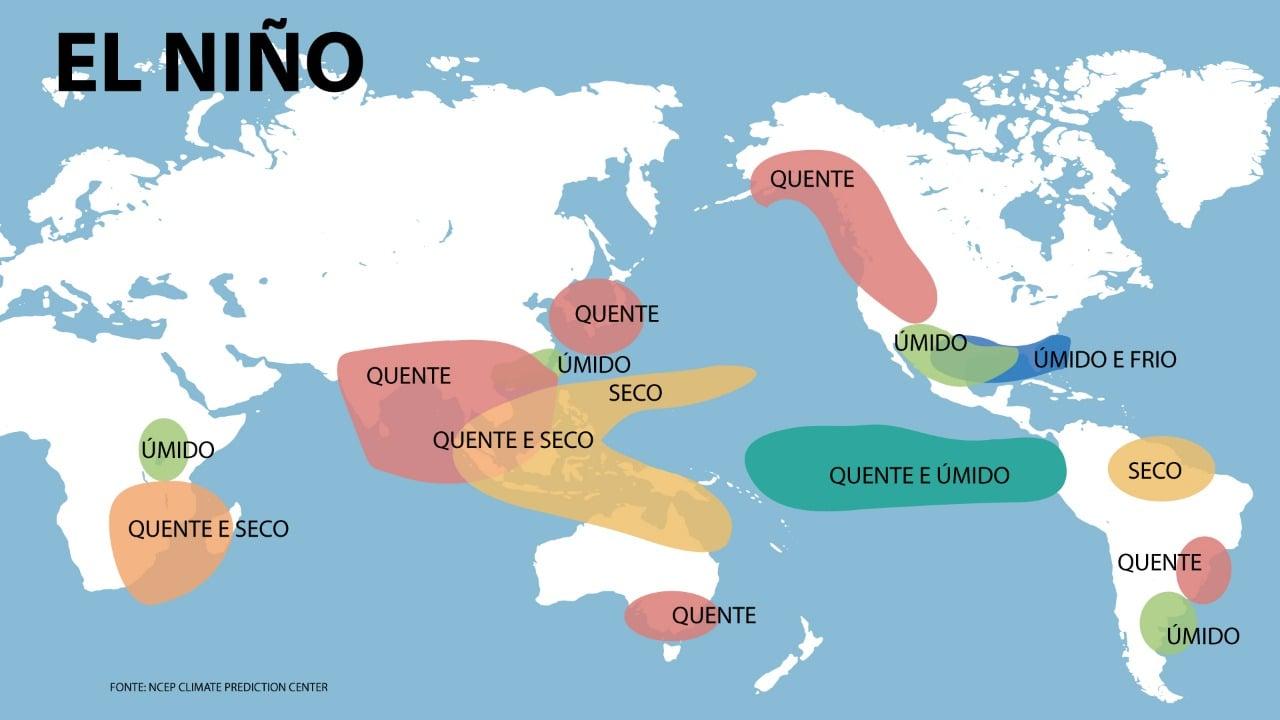 Efeitos do fenômeno El Niño pelo mundo - Fonte: NOAA | Arte: Hugo Galdino/Notícias Agrícolas