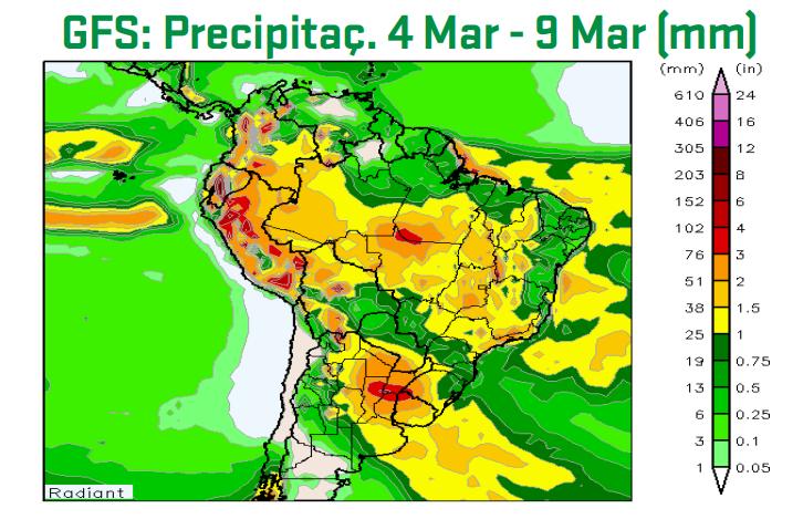 Mapa com a previsão de chuvas acumuladas do modelo GFS de 4 até 9 de março - Fonte: ARC Mercosul (AgResource)