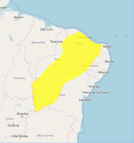 Veja o mapa das áreas com previsão de altos acumulados nesta 6ª feira - Fonte: Inmet / Centro-Oeste e Matopiba