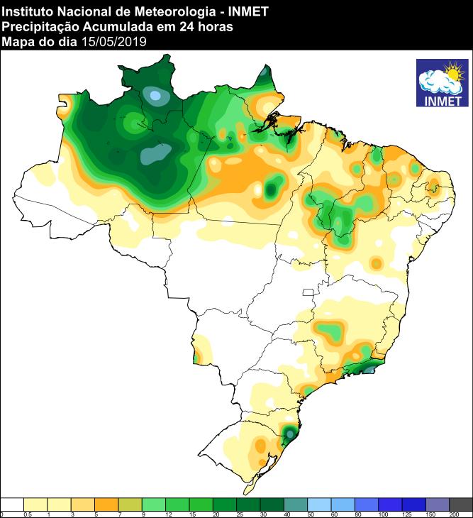 Mapa com a precipitação acumulada nas últimas 24 horas em todo o Brasil - Fonte: Inmet