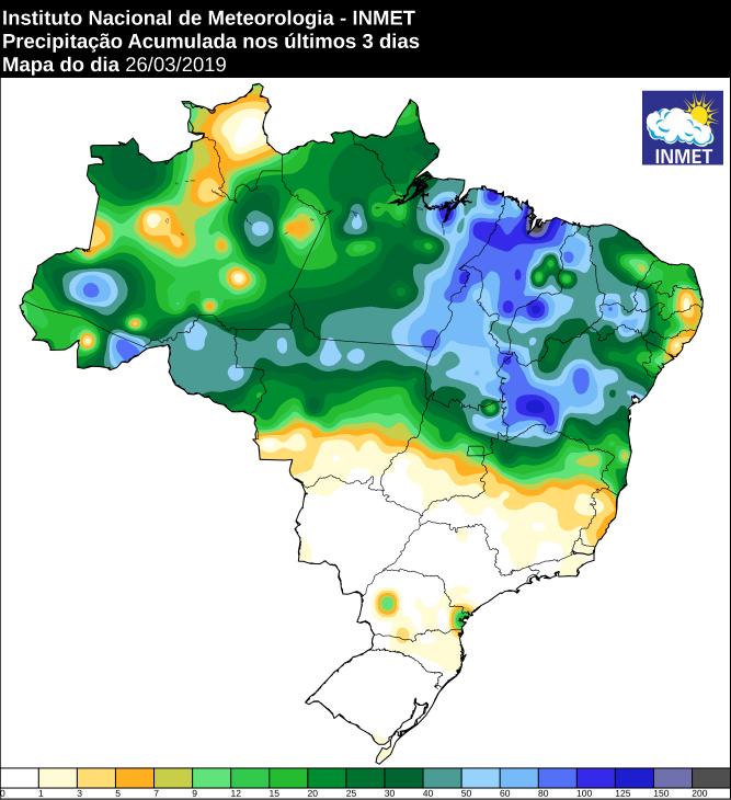 Mapa de precipitação acumulada nos últimos 3 dias no Brasil - Fonte: Inmet