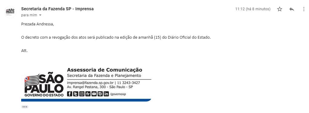 e-mail da secretária da fazenda confirmando que o decreto será divulgado no dia 15/01