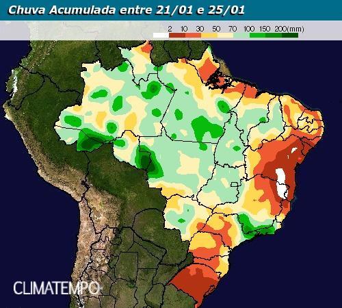 Chuva acumulada de 21 a 25 de janeiro: Fonte: Climatempo