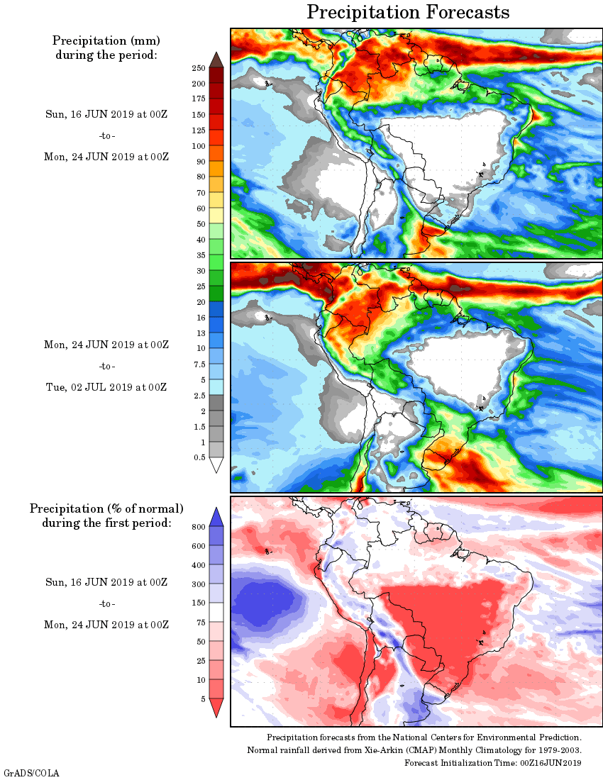 Mapa com a tendência de precipitação acumulada para o período de 16 até 02 de julho - Fonte: National Centers for Environmental Prediction/NOAA