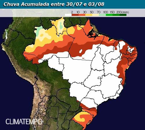 Chuva Acumulada entre 30 de julho e 3 de agosto