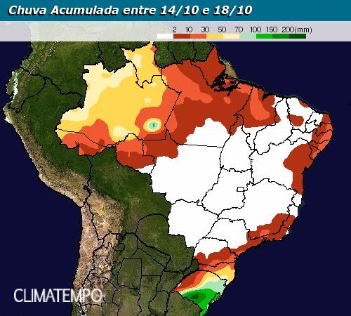 Chuva acumulada entre 14 e 18 de outubro