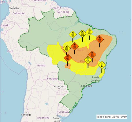 Mapa das áreas com alertas nesta quarta-feira em todo o Brasil - Fonte: Inmet