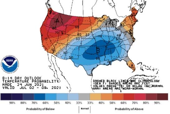 Clima nos EUA 2 a 8 de julho - Fonte: NOAA