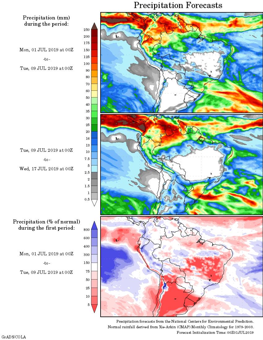 Mapa com a tendência de precipitação acumulada para o período de 01 até 17 de julho - Fonte: National Centers for Environmental Prediction/NOAA
